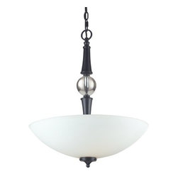 Z-Lite - Z-Lite 604P Harmony 3 Light Bowl Shaped Pendant - With a contrasting white shade and crystal sphere, this three-bulb pendant is a unique mix of contemporary and traditional styling. Finished in matte black, this fixture creates an elegant yet bold statement.Features:
