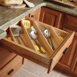 Diamond Diagonal Drawer Insert - The Kitchn recommends our Diamond Cabinets diagonal inserts as a great organization solution to keep utensils off your countertops and drawers clutter free: http://www.thekitchn.com/make-the-most-of-your-drawers-by-organizing-diagonally-165563