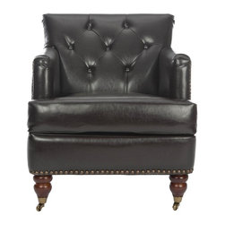Safavieh Furniture - Grace 28 in. Deep Club Chair - Upholstered seat and back. Tight tufted back. Nail head trim. Made from wood and dark brown bicast leather. No assembly required. 34.4 in. W x 28 in. D x 32.7 in. H (39 lbs.)The Safavieh Grace Bicast Leather Brown Club Chair features high arms and a deep seat. While the arching backrest and tight tufted back provide a fresh classic design that will complement any room.