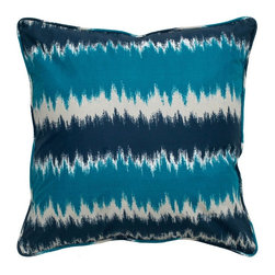 Rizzy Home - Rizzy Home Blue and Gray Striped Decorative Throw Pillow - T05167 - Shop for Pillows from Hayneedle.com! Like your decor the Rizzy Home Blue and Gray Striped Decorative Throw Pillow is inspired by the timeless Ikat pattern. This blue and gray striped accent pillow is made with a cotton fabric cover with hidden zipper and plush removable polyester insert. Hand wash the cover in cold water and lay flat to dry.About Rizzy HomeRizwan Ansari and his brother Shamsu come from a family of rug artisans in India. Their design color and production skills have been passed from generation to generation. Known for meticulously crafted handmade wool rugs and quality textiles the Ansari family has built a flourishing home-fashion business from state-of-the-art facilities in India. In 2007 they established a rug-and-textiles distribution center in Calhoun Georgia. With more than 100 000 square feet of warehouse space the U.S. facility allows the company to further build on its reputation for excellence artistry and innovation. Their products include a wide selection of handmade and machine-made rugs as well as designer bed linens duvet sets quilts decorative pillows table linens and more. The family business prides itself on outstanding customer service a variety of price points and an array of designs and weaving techniques.