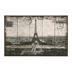 BZBZ56000 - Wall Art of Postcard Style Paris Eiffel Tower - Wall Art of Postcard Style Paris Eiffel Tower. Why not enjoy your decor with reminders of one of the most romantic places in the world. We all love to travel, so why not enjoy these experiences between trips from the comfort of your own home.