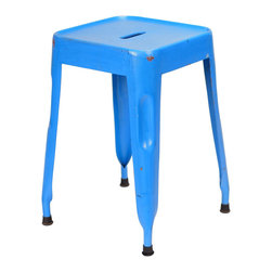 Felix | Tolix Style Tabouret Table Stool - Lightly Distressed Blue - This classic Tolix style cafe stool originally designed by Xavier Pauchard in 1934 has been a staple in French bistros and trendy hotspots throughout the 20th century. The Felix is our spin on the classic Tolix stool. Slight abrasions and variations are characteristic of the chair's industrial aesthetic. Our gunmetal stools or stools labeled as distressed are hand finished and antiqued to create a unique industrial look. Only galvanized finish is suitable for outside use. Available in an array of colors and finishes, mix and match to create a unique setting (some colors are available through special order only). Contact Us for quantity orders.