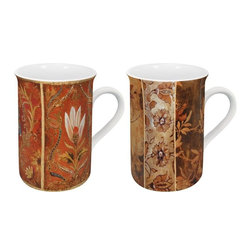 Konitz - Tapestry Mugs, Set of 4 - Bring the beauty of 17th-century woven textiles from the museum to the table with this set of Tapestry Mugs. Antique pattern of rich gold, brown and red flowers.