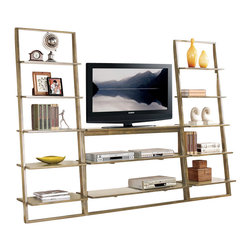 Riverside Furniture - Riverside Furniture Lean Living TV Stand in Smoky Driftwood - Shown with 2 Bookcases Sold Separately