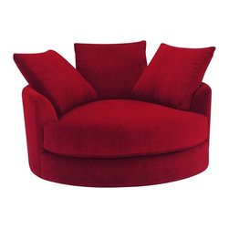Lazar Industries - Cuddle Circle Lounge Chair with Swivel in Atmosphere Scarlet - Cuddle Circle Lounge Chair with Swivel by Lazar Industries in Atmosphere Scarlet