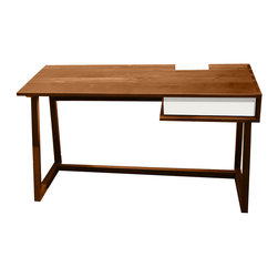 Commonhouse Furniture - Block Desk - Upgrade your workspace with this contemporary desk. Hide your cables in the secret compartment on the desktop and use the drawer to stash other unsightly office supplies. An uncluttered desk equals an uncluttered mind.