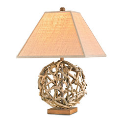 Kathy Kuo Home - Driftwood Sphere Rustic Beach Style Modern Table Lamp - This impressive orb is created from natural driftwood pieces.  Each small piece of driftwood is carefully selected and no two pieces are ever quite the same.  Driftwood is intentionally left in its natural state so no further finish is required.  Nautical, organic and modern - a great addition to any room.