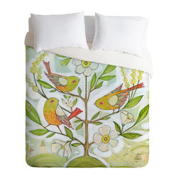 DENY Designs - Cori Dantini Community Tree Queen Duvet Cover - Feather your nest with this winsome duvet cover and you'll wake with the birds each morning! Artist Cori Dantini's colorful design is custom printed on soft, easy-care woven polyester. A hidden zipper makes it easy to remove the cover for cleaning. Crave a little variety? Flip it over and the back is solid white.