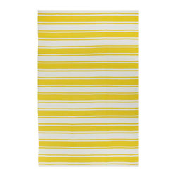 Fab Habitat - Lucky - Yellow & White Rug (5' x 8') - You know how happy you feel when a pet or a loved one greets you at the door when you walk into your home? This inviting rug elicits a similar response. In both cases, a cheerful disposition can't help but bring a smile to your face.