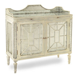 Mansard Sideboard - Certain to become an heirloom beloved for its timeless and inimitable style, the Mansard Sideboard from renowned designer Florence de Dampierre imparts a lightened beauty to your transitional decor.   The Mansard boasts a trellis design and symmetry that are hallmarks of French classical design; the elegant verre eglomise doors, painted trellis decoration, and finely carved legs reimagine the traditional form.
