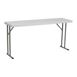 """Flash Furniture - 18""""W x 60""""L Granite White Plastic Folding Training Table - Convenient commercial grade training table that is designed to withstand the test of time! Flash Furniture's 18 in. W x 60 in. L Folding Table features a durable stain resistant blow molded top and sturdy frame. This lightweight 5 ft. table locks in place in a SNAP with the leg locking system for easy set-ups. The space saving design can allow multiple tables in a small to large setting making it the perfect training style table for the classroom or any training facility. Not only does this table make a great training table, but can be used in banquet halls or for everyday use in the school."""