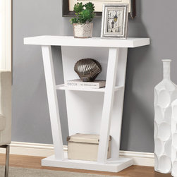 Monarch - White 32in.L Hall Console Accent Table - Grab your guests attention with this white finished hall console accent table. This sturdy 32 in. long solid-wood table has symmetrical lines and a unique flair. Great for displaying pictures, decorative pieces or books, this piece is sure to be a great addition to your hallway.