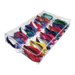 Richards Homewares - Under Bed Shoe Storage - Clear by Richards Homewares - Free up storage space for your shoes with the Under Bed Shoe Storage by Richards Homewares. Use this shoes storage bag to hide away all your shoes under your bed. Made of super thick vinyl, this shoes storage organizer ensures durability of your shoes. It features 16 compartments to segregate all your shoes while keeping them at one easy to reach bag. With heat-sealed seams and zippers, the shoes remain free from dust and dirt, thereby prolonging the life of yours shoes. Clear design of this storage bag facilitates easily identifying shoes for quick selection. With self-correcting nylon zippers, this underbed shoe storage bag keeps your shoes organized in one place.