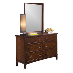 Liberty Furniture - Chelsea Square Youth Double Dresser w Mirror - Dresser with six drawers. Kenlin drawer glides. French and English dovetail construction. Bottom case dust proof panels. Antique brass knobs and bail pulls. Rectangular shape mirror. 1 in. mirror frame thickness. Warranty: One year. Made from select hardwoods and birch veneers. Burnished tobacco finish. Made in Vietnam. Mirror: 32 in. W x 38 in. H (31 lbs.). Dresser: 54 in. W x 18 in. D x 34 in. H (119 lbs.)
