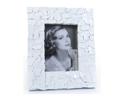 """Concepts Life - Concepts Life Photo Frame  Sacred Mantle  White  5x7"""" - Add luxurious shimmer and texture to your most beloved photographs with these Sacred Mantle Photo Frames. These dazzling white frames feature a shell like finish and look stunning when they catch a ray of light.  Modern home accent Contemporary white picture frame Beautiful and elegant home accent Rectangular photo frame Made of polyresin Textured finish Easel back for horizontal or vertical display Various sizes available Holds 5 x 7 in. size photo Dimensions: 9.5""""w x 11.5""""h x 1""""d Weight: 2 lbs"""