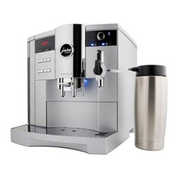 "Jura - Jura Impressa S9 One Touch Automatic Coffee Center, Platinum Metallic - Powerful.18-bar power pump with 1450 watt stainless steel lined ThermoBlock heating system. Fast continuous operation for use at home or in the office. One Touch Technology: Offers an impressive range of specialities at the simple touch of a button: latte macchiato, cappuccino, cafe"" cre""me, espresso, hot water serving. The newly developed micro brewing unit ensures espresso quality of the highest standard. Capable of doing multiple beverages.Make authentic espresso, capuccino, lattes, long crema coffees even hot chocolate and tea with a push of a button, perfectly every time. Fully programmable For all coffee, frothing and hot water functions, the S9 One Touch lets you set temperature, volume and strength for each button.  Make one or two cups at a time, from one to a full 16 ounces. Coffee e"" la carte The IMPRESSA S9 Classic flatters the palate with coffee e"" la carte in all conceivable variations. With the a la carte button and the rotary dial you can override the coffee strength and cup size just before brewing. The new rotary dial technology also allows you to adjust the strength of the coffee on all beverage buttons while it is grinding as well as adjust the cup size during the brewing cycle.Conical Burr Grinder: Commercial solid steel conical burr grinder, sound insulated, with 6 fineness settings and a 10 ounce bean container. Electronic bean level sensor never lets you run out of beans, preventing weak coffees. CLEARYL Water Care System. Removes chlorine, lead, aluminum and copper from your tap water for a better tasting coffee. A special organic additive removes almost all calcium and eliminates decalcifying altogether. Electronic CLEARYL cartridge change indicator makes sure that you always have the best water possible. LED Display. The easy to read LED display shows if you brew mild, regular or strong coffee and displays the cup size while the machine is brewing. It will also remind you when water or coffee beans need to be refilled.  A separate funnel accommodates ground coffee for decaf or other varieties and it can also dispense hot water for Cafe"" Americano, Tea or just to pre-warm your cupsPre""fusion Cycle. Two step pre""fusion cycle moistens and conditions the ground coffee. Maximum flavor extraction with perfect crema topping. Auto-Cappuccino SystemThis fool proof system automatically siphons cold milk from the thermal milk container, combines it with hot steam and delivers hot, frothed milk into your Cappuccino cups. Turn the dial of the system to the latte setting and it delivers hot steamed milk with very little or no froth for that delicious Latte. Setting the steam output to a certain time lets you fill cup after cup with the exact same amount of hot steamed or frothed milk. The result: always the same taste and no more wasted milk!. Temperature control! For that extra hot Cappuccino or Latte move the dial from the ""-"" settings towards the ""+"" settings to increase the temperature of the milk Bipass Doser: Brew with ground coffee using the doser located on the upper left of the machine.Dual ThermoBlocks: Two separate stainless steel lined ThermoBlock heating systems are always at the ready for coffee and steam. No downtime and no contact with the aluminum.Cup Brewing Illumination: A little light shines down for added visibility."