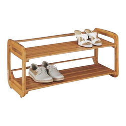 Organize It All - Lohas Bamboo Two Tier Stackable Shoe Rack - Tired of tripping over your own shoes lying in the floor? This compact and stylish 2 tier shoe rack is great to place right inside the doorway or bedroom to organize your footwear. Made from Carbonized Bamboo. Carbonization is a a source of energy which does not produce carbon dioxide. It is a high-temperature treatment that stabilizes the material, making it antimicrobial.The process gives the Bamboo it�s caramel color and prevents color-fading, breakage and warping. Handles moisture well.