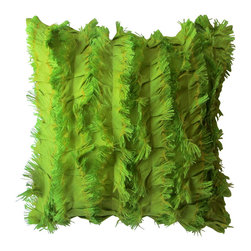 Garden Candy - Ruffled Silk Square Pillow, Green Grass - Garden Candy's Ruffled Silk Square Pillow is 100% silk. This pillow features the very unique ruffled silk detailing on the front and a simple, plain back for great versatility.