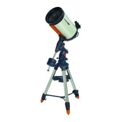 "Celestron CGEM DX 14 Inch Edge HD Optics Telescope - The Celestron CGEM DX 1400 HD combines Celestron's newly designed CGEM DX Computerized Equatorial mount with its new EdgeHD optical system. With more than 60% more light gathering power than the 11"""" telescope the CGEM DX 1400 is Celestron's largest optical system in its class. Featuring our premium StarBright XLT coatings and 14"""" of aperture this telescope gives you the brightest clearest views whether observing planetary or deep-sky objects. Celestron CGEM DX Equatorial Mount The Celestron CGEM DX mount is the newest member of our fully computerized Equatorial mount series capable of carrying Celestron's high-end 11"""" and 14"""" optical tubes. The CGE PRO style 2.75"""" leg tripod holds even our 14"""" optics securely and vibration free which is ideal for both imaging and visual observing. Capable of holding 50 lbs of payload and slewing at 5° per second you will be able to instantly point to any of the celestial objects in the database. German Equatorial mounts are recognized for their rock solid stability simple balancing and easy accessibility for attaching accessories. With sophisticated software features like the Hibernate function the CGEM DX can maintain its star alignment night after night without needing to be re-aligned making it an excellent choice for a permanent observatory facility. Ergonomic Design - CGEM DX was designed to be ergonomically friendly with large Altitude and Azimuth adjustment knobs for quick and easy polar alignment adjustment. The internal RA and DEC motor wiring provides a clean look and an easy and trouble free set up. Innovation - The CGEM DX series has a new innovative Polar alignment procedure called All-Star™. All-Star allows users to choose any bright star while the software calculates and assists with polar alignment. Another great feature of the CGEM DX sure to please astroimagers is the Permanent Periodic Error Correction (PEC) which will allow users to train out the worm gears periodic errors while the mount retains the PEC recordings. Performance - For objects near the Meridian (imaginary line passing from North to South) the CGEM DX will track well past the Meridian for uninterrupted imaging through the most ideal part of the sky. The CGEM mount has a robust database with over 40 000 objects 100 user defined programmable objects and enhanced information on over 200 objects. Power Management - Redesigned electronics deliver constant regulated power to the motors making them capable of driving the telescope even when not perfectly balanced. This allows the CGEM DX to have the payload capacity of that of much larger mounts without sacrificing smooth tracking motion and pointing accuracy across the entire sky. New Optical Design - EdgeHD The EdgeHD optical system takes all of the compact power popularized by the Schmidt Cassegrain Telescope (SCT) and combines it with an improved high definition optical system for wide field astrograph quality images. As a visual instrument EdgeHD optics deliver pinpoint images even with your widest field eyepiece. You can search for all of the Messier Catalog objects and see hundreds of other equally interesting NGC IC and Caldwell objects with amazing clarity. For astroimaging the EdgeHD optics produce aberration-free images across your favorite CCD or DSLR camera. All EdgeHD optics are designed to produce an extremely flat focal plane precise enough to match the strict tolerances of the largest commercial CCD detectors allowing all stars to be in tight focus to the very edge of the chip. Diffraction Limited Some companies boast that their telescopes give diffraction limited stars in the very center of the field of view. EdgeHD optics not only produce diffraction limited stars on axis but maintain diffraction limited stars across the entire field of view of many of the most popular astrophotography cameras. Even at the very edge of a full frame camera chip the EdgeHD 14"""" delivers star sizes of only 1 arc second! Along with the newly designed optics the EdgeHD also has re-designed mechanics guaranteed to help you get the maximum performance from your instrument. Features Include: Mirror Locks – To hold the mirror in place and reduce image shift during imaging. Tube Vents - Each vent has an integrated 60 micron micro-mesh filter allowing hot air to be released from behind the primary mirror. Fastar Versatility – All EdgeHD optical tubes are equipped with a removable secondary mirror for fast f/2 CCD imaging. Not only does imaging in the FASTAR configuration allow for exposure times that are 25 times faster than at f/10 but also yields a field of view five times wider. The perfect combination for imaging your favorite wide field objects in a fraction of the time. (FASTAR imaging requires a third party lens assembly in place of the secondary mirror). 82° Eyepiece - EdgeHD 14"""" optical tubes come with Celestron's top of the line 2"""" barrel eyepiece. With a 23 mm focal length and 82° AFOV you get an incredible combination of power and wide field of view. Plus this 6-element eyepiece is optimized to deliver pinpoint images when used with a flat field telescope. Learn more about the benefits and features of this new optical system by going to the EdgeHD web page. The EdgeHD 14"""" optics produce a focal plane three-times flatter than the standard equivalent SCT telescope with diffraction limited stars to the very edge of the SBIG STL6303 field of view! Celestron CGEM DX 1400 HD - General Features 14""""; EdgeHD Optics New Celestron CGEM DX Computerized Equatorial Mount Celestron's premium StarBright XLT coatings 9x50 finderscope to help accurately find objects Ultra sturdy 2.75"""" steel tripod with Accessory Tray Star diagonal provides more comfortable viewing position when observing objects that are high in the sky Celestron CGEM DX 1400 HD - HD Features New aplanatic Schmidt telescope design produces aberration-free images across a wide field of view Mirror tension locks hold the primary mirror in place and reduce image shift Cooling vents allow hot air to be released from behind the primary mirror Fastar compatible for fast f/2 imaging Celestron CGEM DX 1400 HD - Computerized Mount Features Proven NexStar computer control technology 40 000 object database with over 100 user-definable objects and expanded information on over 200 objects New """"All-star"""" Polar alignment uses any bright star for a quick and accurate Polar alignmentSoftware Features include: Mount Calibration Database Filter Limits Hibernate five Alignment Procedures Flash upgradeable hand control software and motor control units for downloading product updates over the Internet Custom database lists of all the most famous deep-sky objects by name and catalog number: the most beautiful double triple and quadruple stars; variable stars; solar system objects and asterisms Permanent Programmable Periodic Error Correction (PEC) - corrects for periodic tracking errors inherent to all worm drives Drive Motors - Low Cog DC Servo motor with integrated optical encoders offer smooth quiet operation and long life. The motor armatures are skewed to minimize cogging which is required for low speed tracking. Internal Cable wiring for trouble-free setup and transportation Designated six-pin RJ-12 modular jack ST-4 compatible guide port Autoguide port and Auxiliary ports located on the electronic plate for long exposure astrophotography Double-line 16-character Liquid Crystal Display Hand Control with backlit LED buttons for easy operation of goto features RS-232 communication port on hand to control the telescope via a personal computer Includes NexRemote telescope control software for advanced control of your telescope via computer GPS compatible with optional SkySync GPS Accessory Precision machined 40 mm diameter steel Polar shafts supported by multiple tapered roller bearings and ball bearings. Secure power plug ensures that the mount's power source is not accidentally disconnected Celestron All-Star Polar Alignment Technology All-Star Polar Alignment TechnologyGerman Equatorial Mounts (GEM) have long since been recognized as the mount of choice for astrophotography. Needing to track in only one axis for long exposures; adjustable counterweights and tube position for perfect balance the GEM has few short comings when it comes to imaging. In order to do long-exposure astro-imaging an equatorially aligned telescope is needed to allow your telescope to properly track the motion of the sky. However accurate tracking still depends on an accurate polar alignment. Even with a visible star very near the North Celestial Pole (NCP) the true celestial pole can be a very elusive place to find without assistance. Now select Celestron mounts can utilize a new innovative Polar alignment procedure called All-Star™. All-Star allows users to choose any bright star while the software calculates and assists with polar alignment. Here's how it works. Once your telescope is aligned with two bright star All-Star allows you to choose any bright star listed in the NexStar hand control to assist in accurately aligning your telescope's mount with the North Celestial Pole. Using the telescope's Sync function the mount is able to point and center a bright star with a high degree of accuracy. Once centered the mount will point the telescope to the exact position that the star should be if the mount were precisely polar aligned. By simply adjusting the mounts altitude and azimuth controls to re-center the star in the center of the eyepiece you are actually moving the mounts polar axis to the exact position of the North Celestial Pole. FAQ Can I use Polaris to polar align my telescope?Since Polaris is very close to the NCP and not very bright it is actually not a recommended star for the """"All-Star"""" method. The advantages of being able to use stars other than Polaris are two fold: Polaris is not always visible. So not only can you use a variety of other stars but they are also brighter and more prominent.The star you choose will be farther away from the NCP thus allowing for greater accuracy when centering the star in your eyepiece. Which stars are best to use for polar aligning?For best results choose a bright alignment star that is near the Meridian preferably close to the celestial equator. Try to avoid stars that are close to the west/east horizon or directly overhead because they can be more difficult to center using the mount's altitude and azimuth controls. Also stars too near the celestial pole are less accurate than those further away. Will I lose my alignment after I polar align?No the mount will retain its alignment but some amount of accuracy may be compromised depending on how much the mount has been moved during polar alignment. Although the telscopes tracking may be very good pointing accuracy may need to be improved especially if you are trying to located small objects on a ccd chip. What are the steps to polar align my telescope using """"All-Star"""" polar alignment? Align the telescope with the sky using the """"Two-Star Alignment"""" method. Select a suitable bright star from the Hand Control's database and slew the telescope to the star. Press the Align button and select Polar Align => Align Mount from the list. The telescope will then re-slew to the alignment star and ask you to center it in the eyepiece in order to """"Sync"""" on the star. The telescope will slew to the position that the star should be if it were accurately polar aligned. Use the mounts altitude and azimuth adjustments to place the star in the center of the eyepiece and press the Align button. Update the telescope's star alignment if necessary."