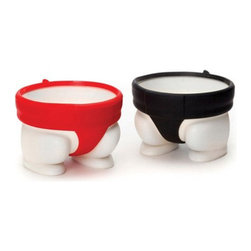 Sumo Egg Holder - Set of 2 - With this pair of red and black sumo egg holders, you can start a little-but-tasty food fight of your own.