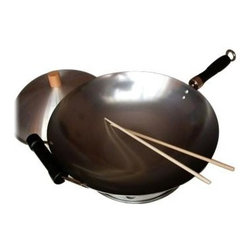 Taylor and Ng - 4 Pc Round Bottom Wok Set - Carbon Steel wok. Designed with a round bottom to accommodate gas or electric cooktops. 4-piece wok set includes a 14 in. single handle round bottom wok. Wood knob dome wok cover to help retain heat while cooking, wok ring. 1-pair Bamboo cooking chopsticks and a wok care/recipe booklet. Any type of cooking utensil can be used on wok. Classic Woks collection. Cold rolled Carbon Steel wok. No nonstick coatings. Additional Wood helper handle. Cleaning and care: Hand wash and dry. 14 in. L x 14 in. W x 4.7 in. H