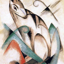 "Franz Marc Seated Mythical Animal - 16"" x 20"" Premium Archival Print - 16"" x 20"" Franz Marc Seated Mythical Animal premium archival print reproduced to meet museum quality standards. Our museum quality archival prints are produced using high-precision print technology for a more accurate reproduction printed on high quality, heavyweight matte presentation paper with fade-resistant, archival inks. Our progressive business model allows us to offer works of art to you at the best wholesale pricing, significantly less than art gallery prices, affordable to all. This line of artwork is produced with extra white border space (if you choose to have it framed, for your framer to work with to frame properly or utilize a larger mat and/or frame).  We present a comprehensive collection of exceptional art reproductions byFranz Marc."