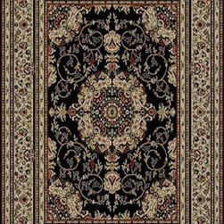 Ottomanson - Black Traditional Oriental Medallion Design Rug - Royal Collection offers a wide variety of machine made modern and oriental design area rugs with durable, stain-resistant pile in trendy colors.