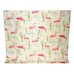 Flamingo fabric retro tropical pink toile, Standard Cut - A flamingo fabric. A retro pink flamingo fabric done as a toile. This cheerful fabric is perfect for any retro lover or a little girl's room where one wants something a bit different. But, you have to like pink!.