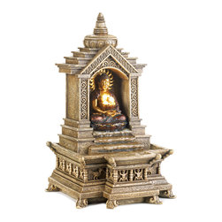 KOOLEKOO - Outdoor Golden Buddha Temple Water Fountain - Buddha reclines within the shelter of his temple as cascading blessings flow from his glowing basket. Faux-stone tabletop fountain is the perfect centerpiece for your own shrine of serenity!