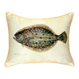 Betsy Drake - Betsy Drake Flounder Pillow- Indoor/Outdoor - Flounder Pillow-Large indoor/outdoor pillow. These versatile pillows are equal at enhancing your homes seaside decor and adding coastal charm to an outdoor setting arrangment. They feature printed outdoor, fade resistant fabric for years of wear and enjoyment. Solid back, polyfill. Proudly made in the USA.