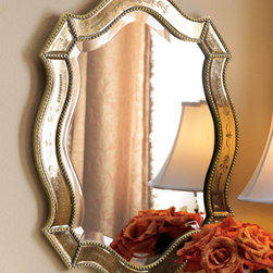 """""""Felicie"""" Oval Mirror - Beautifully elegant, the """"Felicie"""" mirror is designed with etched insets accentuated by an antiqued golden finish and beaded edges. 21""""W x 1""""D x 28""""T"""