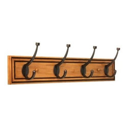 Liberty Hardware - Liberty Hardware 129846 0 27 Inch Hook - Honey Maple & Statuary Bronze - This easy-to-install 24 in. Honey Maple Rail with 4 Statuary Bronze Pill-Top Hooks features a warm honey-maple finish. Four triple pill-top hooks provide an abundance of space for hanging items. Mounting hardware included for easy installation. Width - 27 Inch, Height - 6.75 Inch, Projection - 4 Inch, Finish - Honey Maple & Statuary Bronze, Weight - 2.95 Lbs.