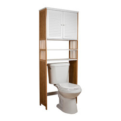 "Danya B - Over the Toilet Double Door Space Saver Cabinet - This eco-friendly bamboo over the toilet étagère is an ideal piece of bathroom furniture that provides added bathroom storage space in a simple yet elegant style.  Its two modern louvered white shutter doors plus two water resistant white open shelves provide generous storage space to keep your bathroom accessories, toiletries, bath tissue and more. One more adjustable shelf behind the doors allows you to customize the storage space according to your requirements and keep contents conveniently accessible yet neatly concealed.  Hardware and assembly instructions included. Dimensions: 27"" X 11 5/8"" X 71"""