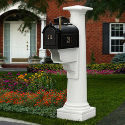 Statesville Mailbox Post - Instantly create an extravagant look in front of your home with the bold design of the Statesville Mailbox Post. This post features a tapered, pedestal design and a newspaper holder.