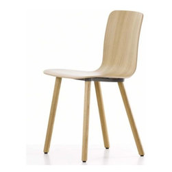 """Vitra - HAL Ply Wood Leg Chair by Vitra - All wood, all modern. Designed by Jasper Morrison to be """"super normal"""" (or fine design for normal living), the Vitra HAL Ply Wood Leg Chair combines a surprisingly comfortable molded plywood seat with playful yet stable canted solid wood legs. Founded in Switzerland in 1950, Vitra produces intelligent and inspiring furniture and accessories for the home, office and other public spaces. Ever mindful of the importance of sustainability in design, Vitra creates furnishings with high quality and versatile style that ensures functional and aesthetic enjoyment for the long term."""