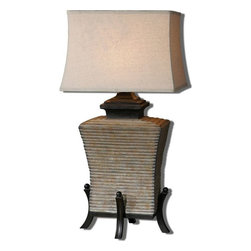 Uttermost - Segura Concrete Table Lamp - Aged concrete base with rust antiquing accented with dark bronze details.