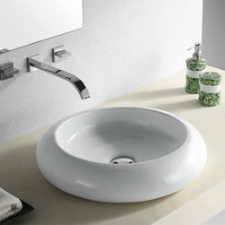 """TCS Home Supplies - Rounded Edge White / Black Porcelain Ceramic Countertop Bathroom Vessel Sink - 1 - Rounded Edge Design. Bathroom Vessel Sink. Porcelain Ceramic. Available in White and Black. Exterior Diameter 19-1/2"""". Interior Diameter 13"""". Depth 4-3/4"""".  Compatible with Most Wall-Mount and Vessel Filler Faucets."""