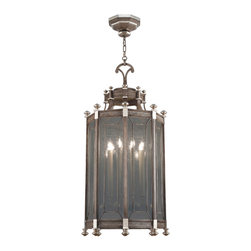 Fine Art Lamps - Villa Vista Lantern, 807640ST - Stately yet not stodgy, this lantern would look lovely anywhere in your home —hallway, dining room, even above the bed. Its handblown glass panels and silver leafed accents truly shine.