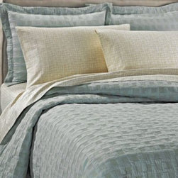 Upstairs Dransfield And Ross - upstairs by Dransfield & Ross Metropole Coverlet - The Metropole coverlet brings luxurious texture and style to your bedroom with an all-over quilted pattern embellished by gold stitching.