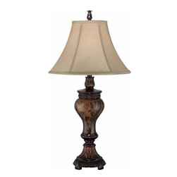 Lite Source - Lite Source Jerold Traditional Table Lamp X-00314C - Introducing the Jerold collection in attractive traditional style. The base of this table lamp features decorative detail in antique bronze finish and a stunning faux marble body in urn design. A light beige fabric shade provides great illumination to any classic décor.