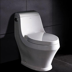 Ariel - Ariel Platinum 'Adonis' One-piece Toilet - Adding an elegant and sophisticated touch to any bathroom is simple with the Ariel contemporary one piece toilet. This modern-style ceramic toilet features an exquisite elongated toilet bowl and a quiet, non-slamming toilet seat cover.