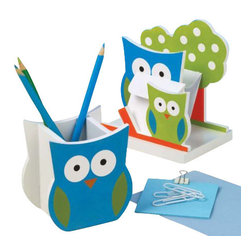 "Design Ideas Owlsley Desk Set - What a HOOT! Owlsley desk set includes a cute owl pencil cup and letter sorter. Colors are lime, blue and white with a splash of orange. The perfect desk accessory! 3.5"" x 2.6"" x 3.9""  (pencil cup), 5"" x 3.25"" x 5.5"" (letter holder)."