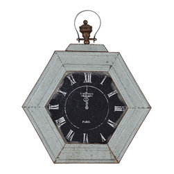 Paragon Decor - Paris Clock - A black clock face with Roman numerals has a distressed white surround.
