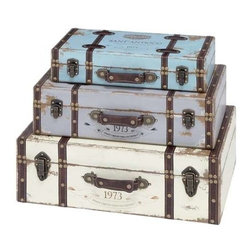 """BZBZ93776 - Trunk with Exceptional Looks and Intrinsic Details - Set of 3 - Trunk with exceptional looks & intrinsic details - set of 3.. This unique wood trunk combines extraordinary looks, artistic details and high functionality to create an outstanding decor item. It comes with a following dimensions 23""""W x 14""""D 8""""H. 21""""W x 11""""D x 6""""H. 18""""W x 8""""D x 4""""H."""