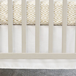 Oliver B - Pure White Flat Panel Crib Skirt - Pure White Flat Panel Crib Skirt