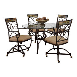 """Hillsdale Furniture - Hillsdale Pompei 5-Piece Dining Room Set with Castered Chairs - Our unique Pompei dining group features an intricate and interesting solid slate design in the chair and around the table edge. A graceful scrolled silhouette drawers your eye to the lovely and colorful motif. Large 48"""" glass top leaves ample room for comfortable dining. Our Pompei collection of occasional tables are not just your everyday display tables. Fascinating to the decorator's eye, with elegantly sculpted metal bases, and a stunning addition to your home decor, with interesting and colorful slate accents, this collection of occasional tables is sure to inspire the creativity in you as well as the envy of your house guests."""