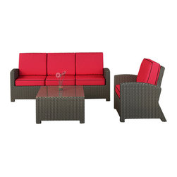 Forever Patio - Barbados 3 Piece Modern Wicker Sofa Set, Flagship Ruby Cushions - Say hello to your new living room extension. Add this modern patio set to your deck or patio and you'll see this as a remodel you don't have to live through. No dust, no dirt, no loud noises and hanging sheets of plastic. Just beautiful furniture that brings the inside out.