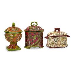 Imax - Paige Antique Vintage Style Storage Boxes Set of 3 Ceramic Decor - Paige antique vintage style storage boxes set of 3 ceramic living, dining and family room home accent decor