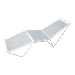 Haskell - Pearl Series 9 Chaise, Without Cushion - This chaise is chic, sleek and ecofriendly. The stainless steel is up to 85 percent recycled content and the powder coating releases few, if any, VOCs. What an admirable addition to your terrace, deck or patio.