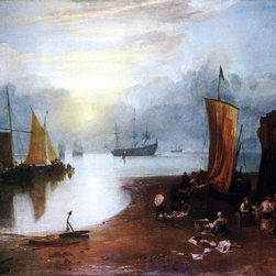 "Joseph William Turner Sun Rising through Vagour Print - 18"" x 24"" Joseph William Turner Sun Rising through Vagour; Fishermen Cleaning and Sellilng Fish premium archival print reproduced to meet museum quality standards. Our museum quality archival prints are produced using high-precision print technology for a more accurate reproduction printed on high quality, heavyweight matte presentation paper with fade-resistant, archival inks. Our progressive business model allows us to offer works of art to you at the best wholesale pricing, significantly less than art gallery prices, affordable to all. This line of artwork is produced with extra white border space (if you choose to have it framed, for your framer to work with to frame properly or utilize a larger mat and/or frame).  We present a comprehensive collection of exceptional art reproductions byJoseph William Turner."